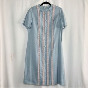 Vintage pale blue dress 1960s with lace accents